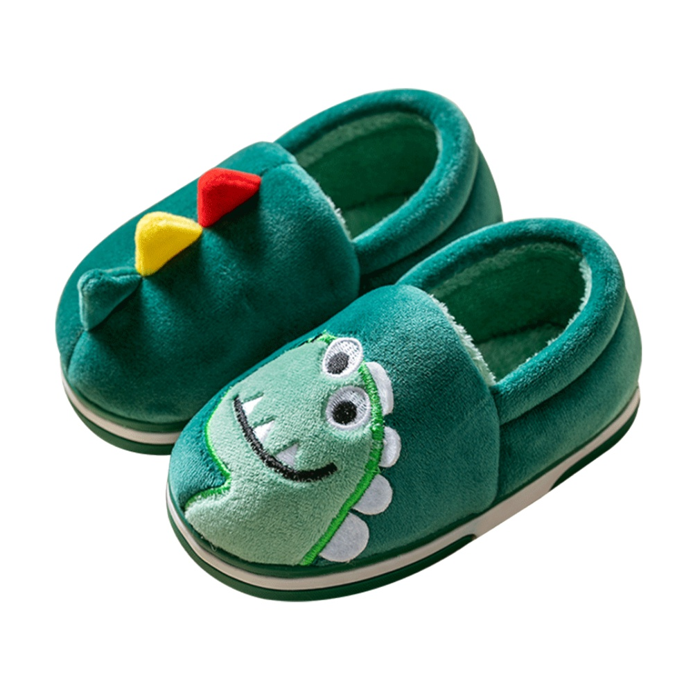 【包邮】猪爸爸儿童毛绒拖鞋秋冬男童女童室内软底宝宝棉拖鞋包跟