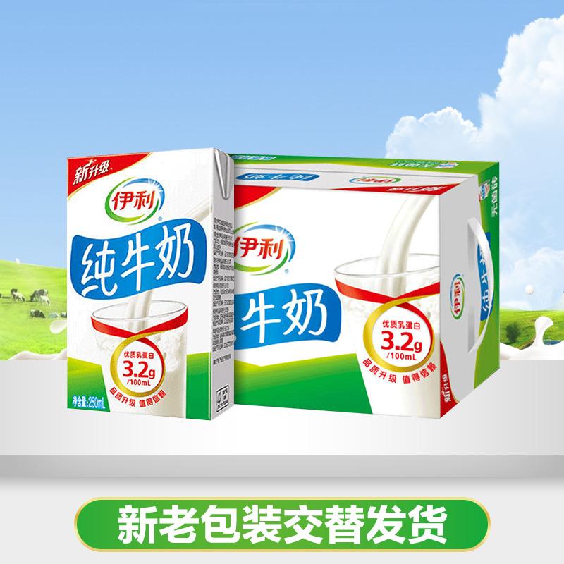 李现同款伊利 无菌砖纯牛奶 250ml*16盒/整箱 营养早餐纯牛奶