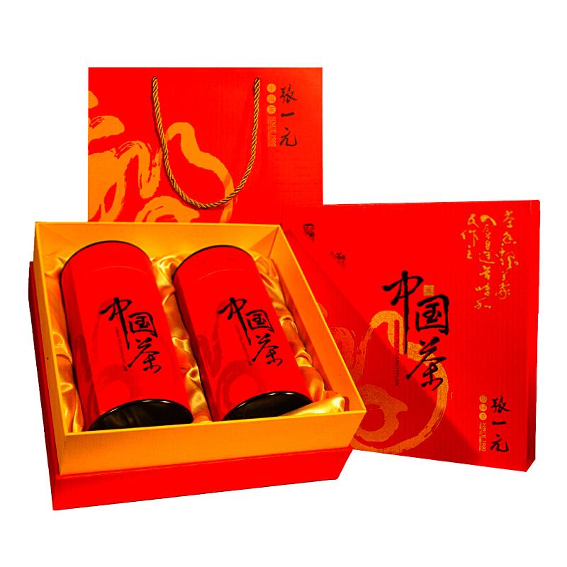 送礼 二级绿茶茶叶中国红年货礼盒 300g 张一元茉莉花茶金福礼盒