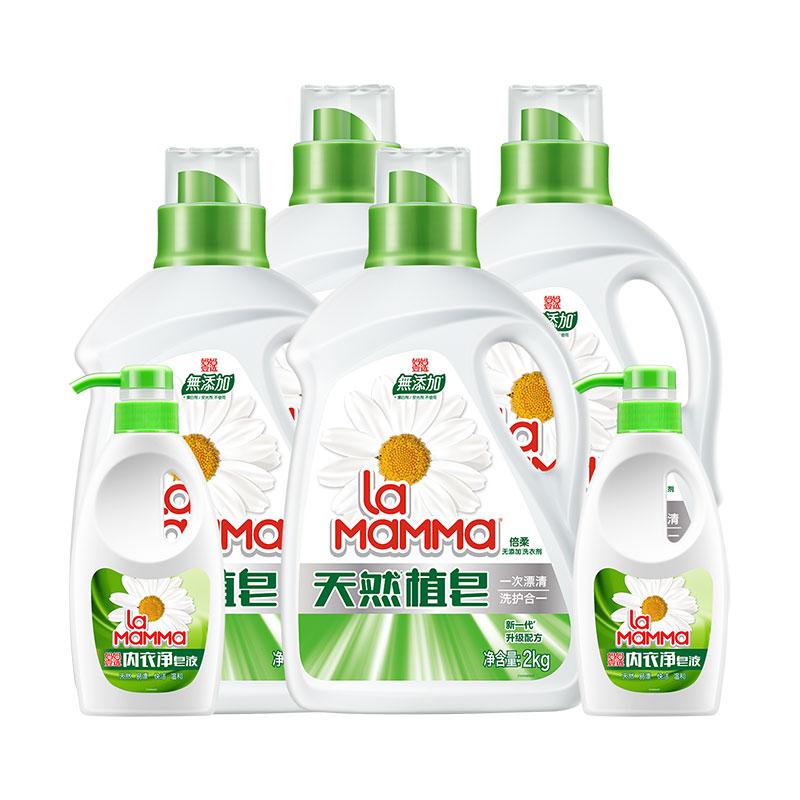 妈妈壹选天然植皂洗衣皂液2kgx4送300gx2瓶机洗 无添加*洗衣剂