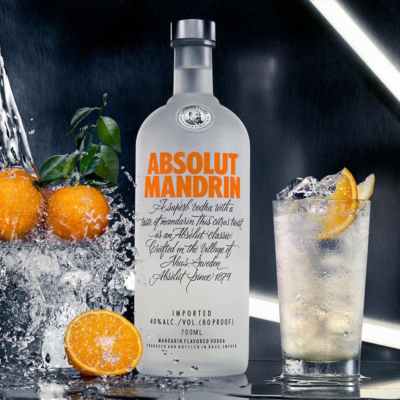 烈酒基酒 鸡尾酒 瑞典进口洋酒 700ml 伏特加柑橘味 Absolut