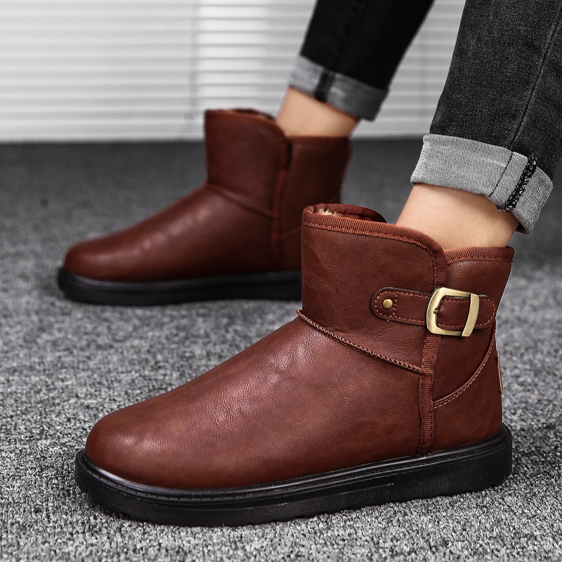 新款雪地靴男冬季保暖加絨加厚防水防滑戶外短靴平底低幫棉鞋 2018