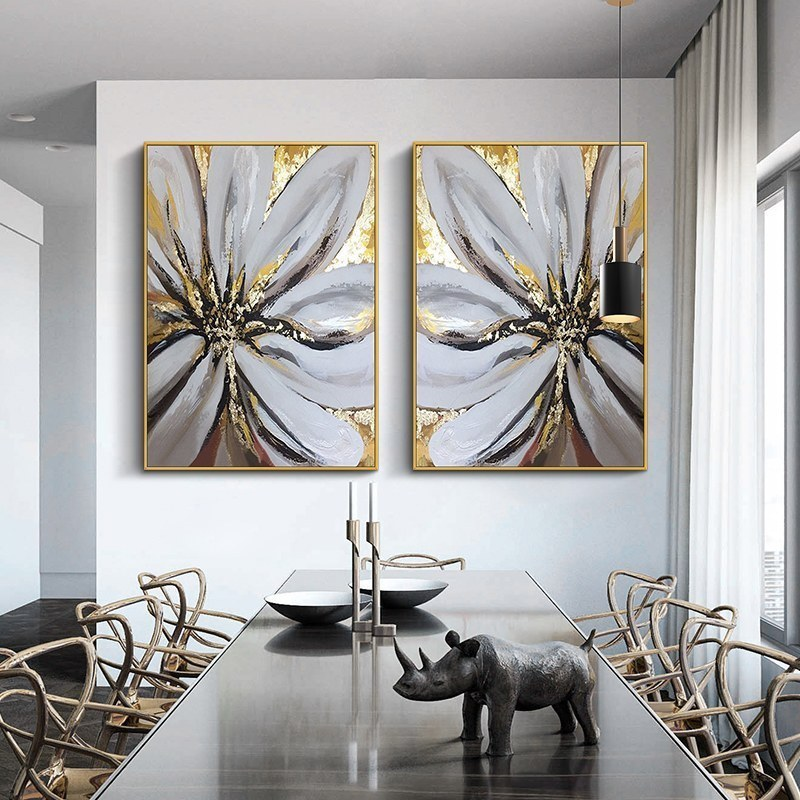 油画美式客厅装饰画三联画玄关背景墙羽毛挂画轻奢餐厅画北欧壁画