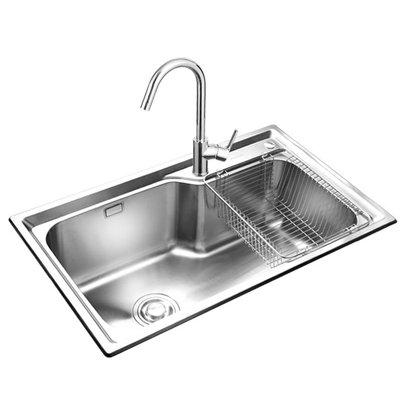 02117 02113 不锈钢水槽套餐加厚厨房洗菜盆单槽洗碗池水池 304 九牧