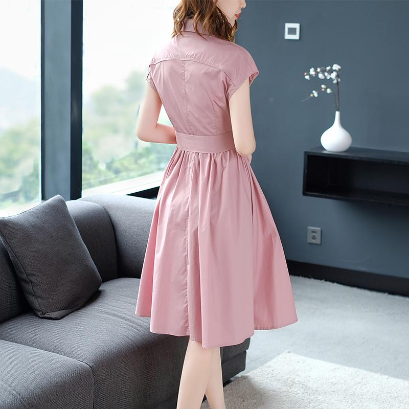 粉色连衣裙气质中长款2018新款女夏棉布慵懒风衬衫裙子棉过膝职业