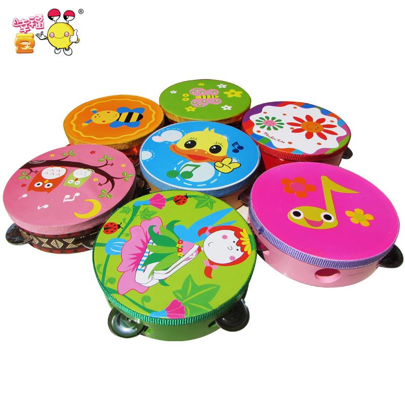 儿童玩具:奥尔夫乐器手铃鼓花铃鼓 手铃鼓木质玩具手铃幼儿园乐器
