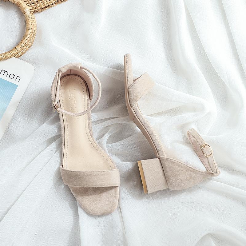 新款粗跟仙女风软底方头一字带裸色女凉鞋 2021 三厘米小跟凉鞋女夏