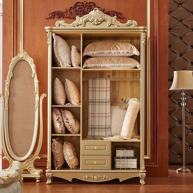 聚法丽莎家具欧式衣柜实木衣柜三四五门卧室衣柜整体储物大衣橱Y1