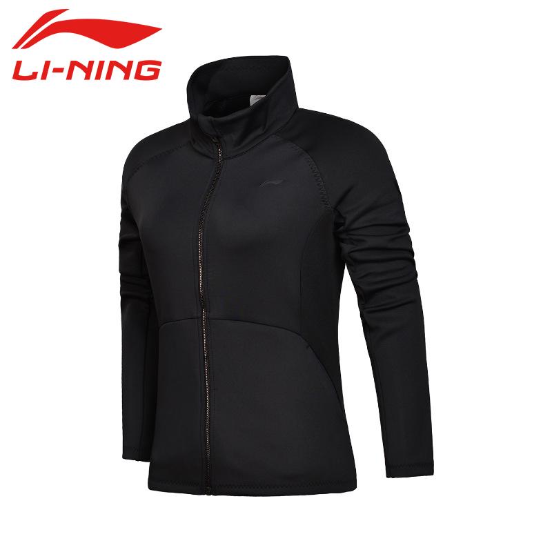 李宁运动外套女春季新款黑色休闲长袖拉链开衫上衣跑步训练服卫衣