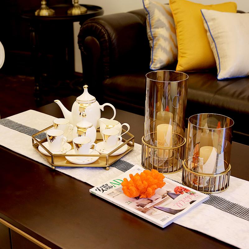 欧式家居样板房装饰品陶瓷咖啡具套装英式客厅茶几摆件下午茶杯具