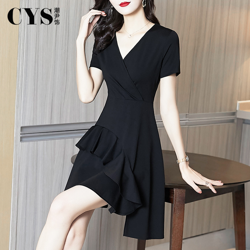 赫本风小黑裙夏天2021年夏季新款女装收腰气质修身裙子黑色连衣裙