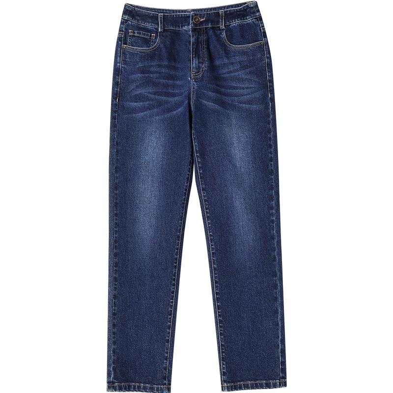 娅丽达女裤牛仔裤女夏季薄款2020新款显瘦高腰裤子宽松直筒九分裤