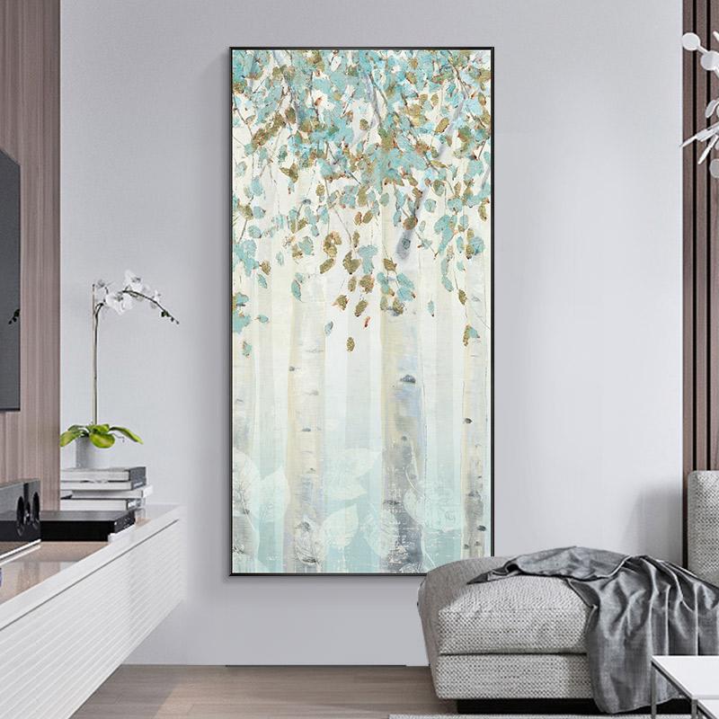金枝玉叶纯手绘油画竖版过道走廊玄关装饰画手工轻奢抽象客厅壁画