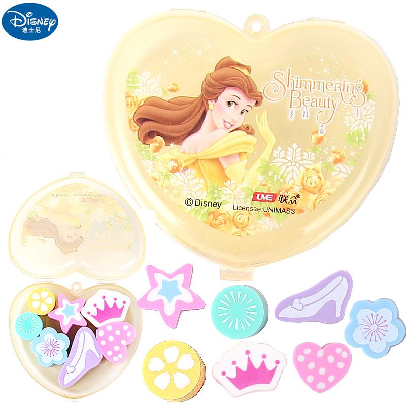 迪士尼可爱卡通小学生橡皮女孩公主皇冠橡皮擦盒装儿童创意文具