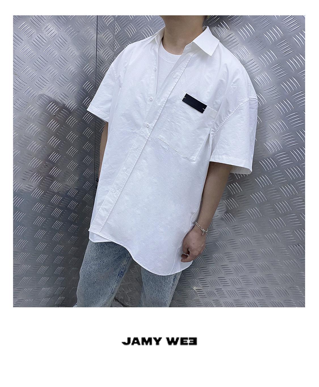 JAMY WEE原创张新成牛骏峰同款中性风高街风宽松白色落肩短袖衬衫