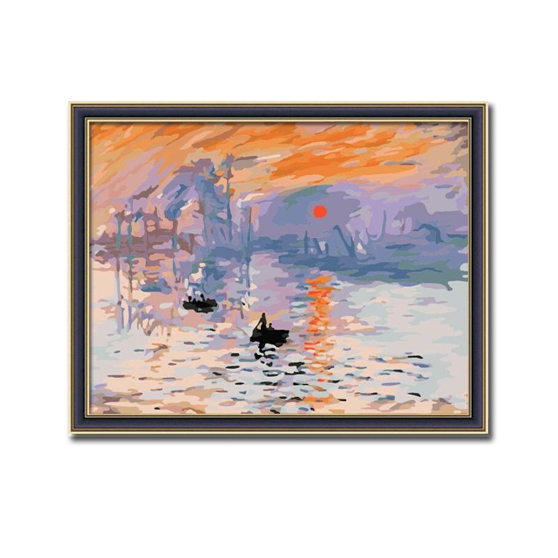佳彩天顏diy數字油畫客廳風景大幅手繪裝飾畫莫奈裝飾畫日出印象