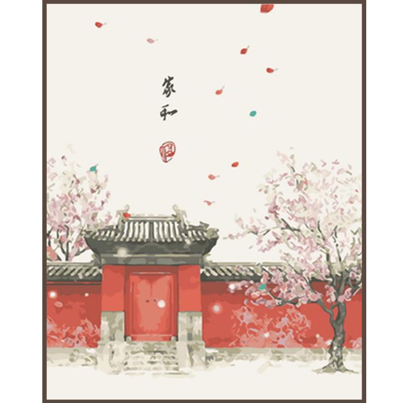 數字油畫手工 diy新中式客廳中國風手繪油彩三聯裝飾畫田園復古風