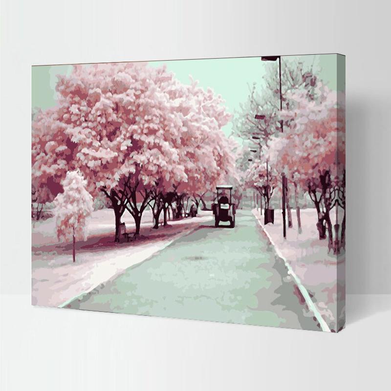 佳彩天顏 diy數字油畫 客廳風景花卉大幅手繪油彩裝飾畫 粉色櫻花