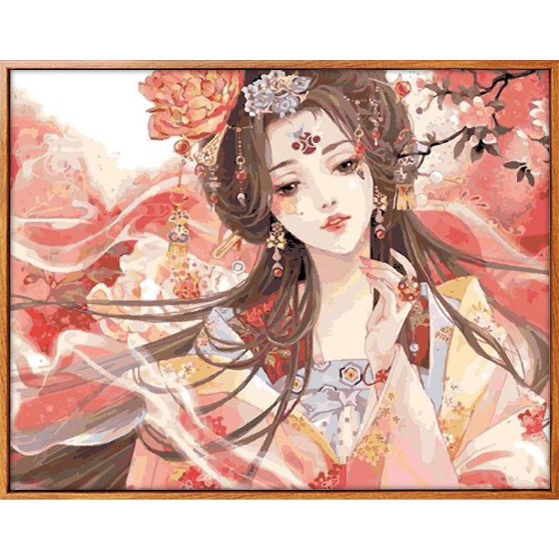 佳彩天颜 diy数字油画手绘填色油彩画装饰画中国古风少女人物油画