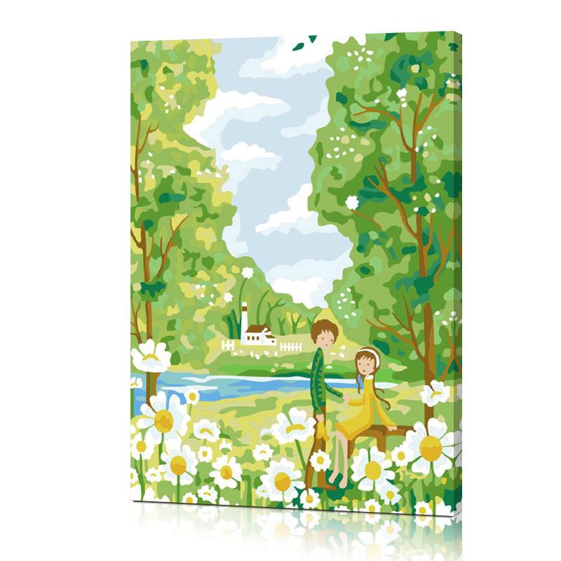 佳彩天顏diy數字油畫 手繪畫 兒童房卡通裝飾畫 童話-青梅竹馬