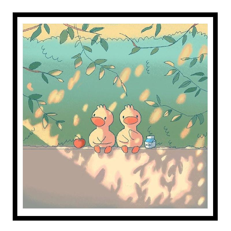 佳彩天颜 数字油画diy填充色萌宠小鸭子可爱动物手绘客厅装饰彩画
