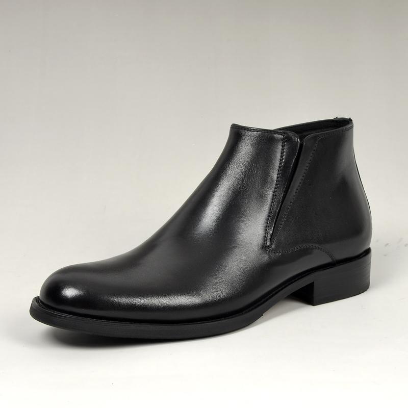 正装高帮皮鞋男士靴子英伦加绒皮靴男真皮发型师男鞋羊毛保暖鞋潮