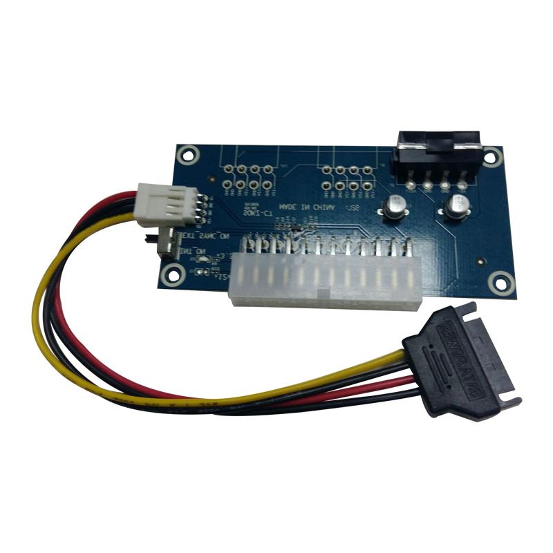 多电源同步启动器 24PIN电源同步线 双电源启动转接卡 带手动开关