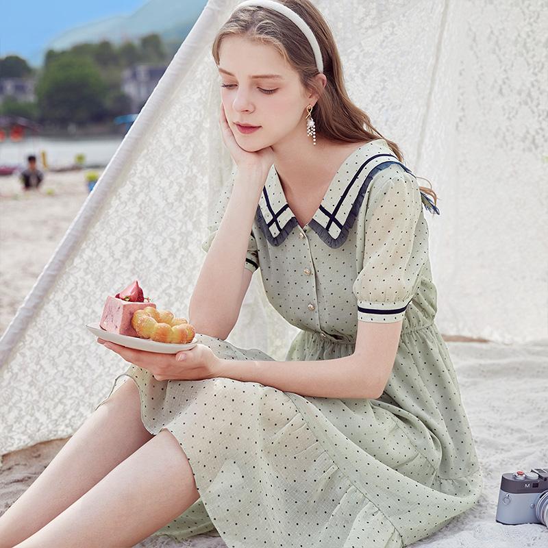 夏季新款中长娃娃领裙收腰显瘦法式裙子 2020 香影雪纺波点连衣裙女