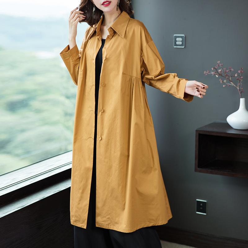 年春季新品简约舒适纯色宽松长袖中长款棉质单层薄外套风衣女 2019