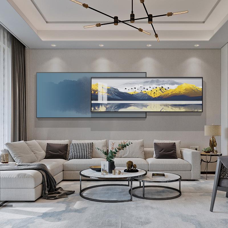 现代简约客厅装饰画大气组合沙发背景墙挂画中式山水床头建筑墙画