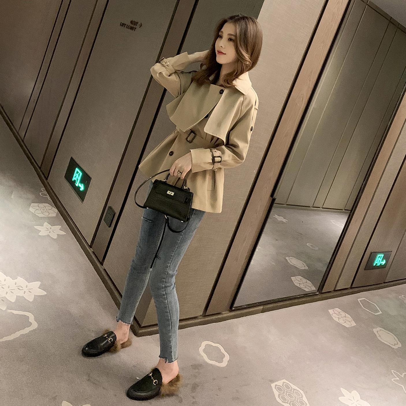 秋季新款韓版英倫風卡其色短風衣女寬松小個子外套設計感上衣 2019