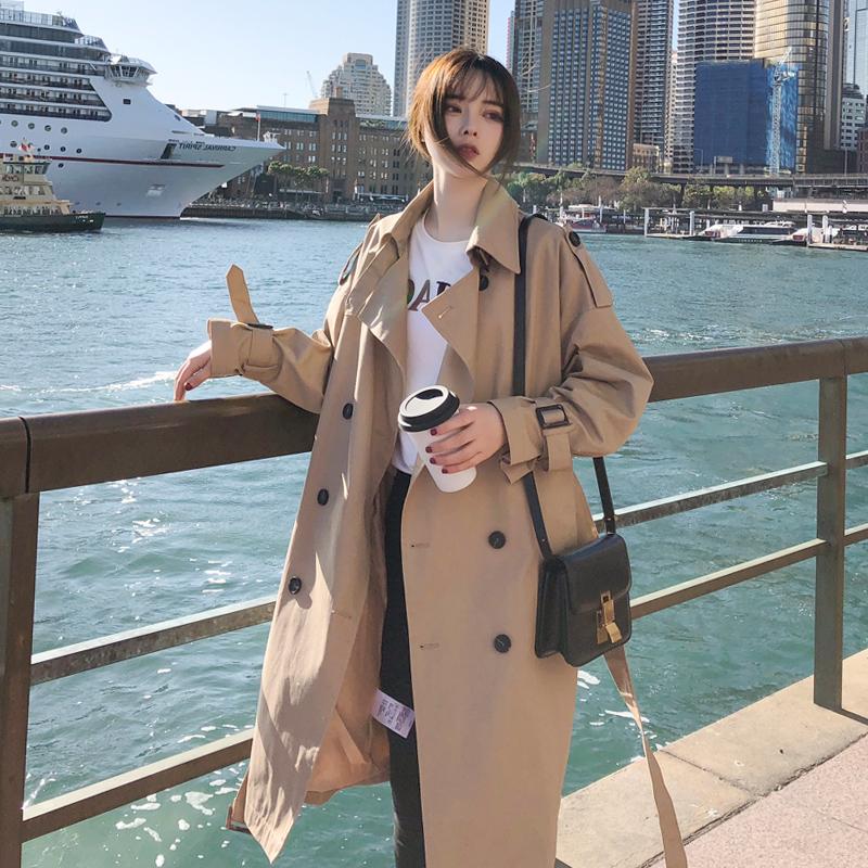 秋季韩版卡其色风衣女中长款小个子修身系带网红流行外套气质英伦