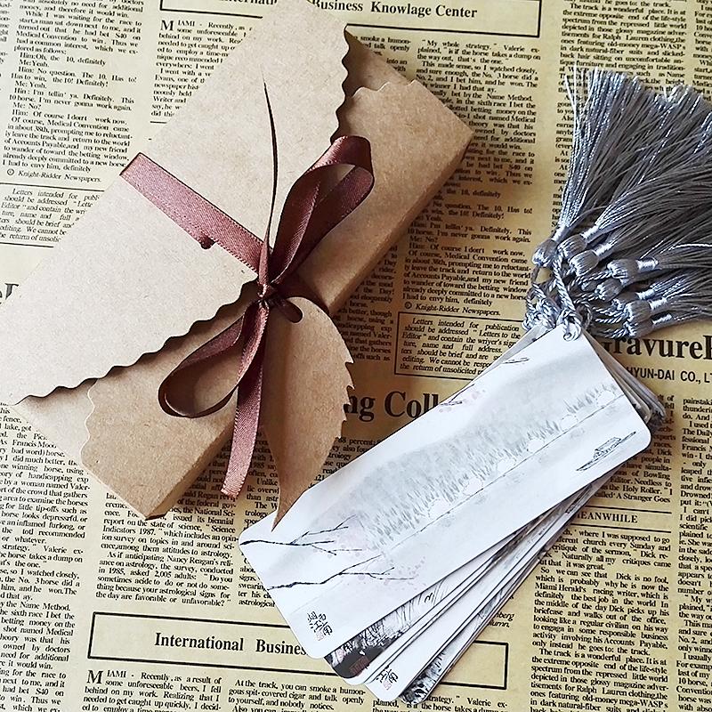 创意书签古典中国风简约纸质文艺青年学生用流苏古风礼物烟雨江南
