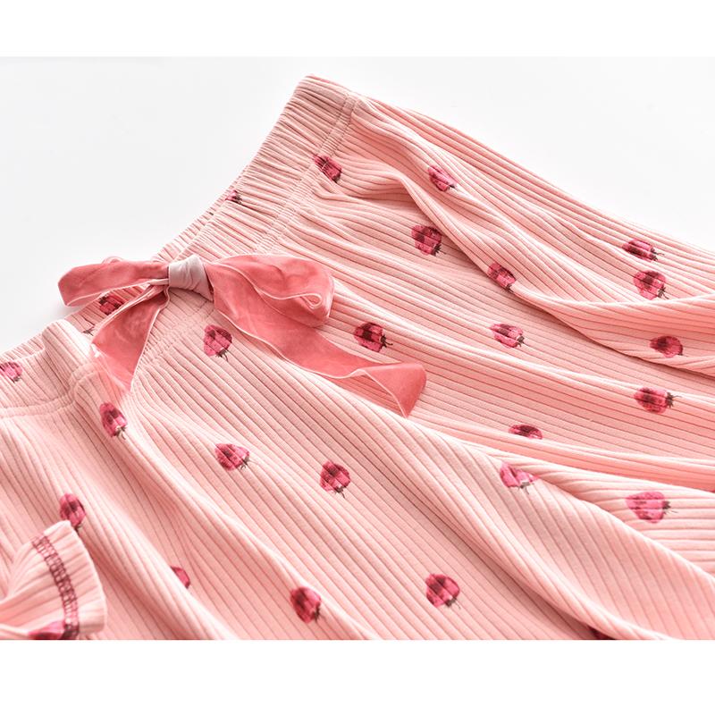 休闲短袖短裤全棉坑条草莓印花家居服套装 纯棉睡衣女夏 2018