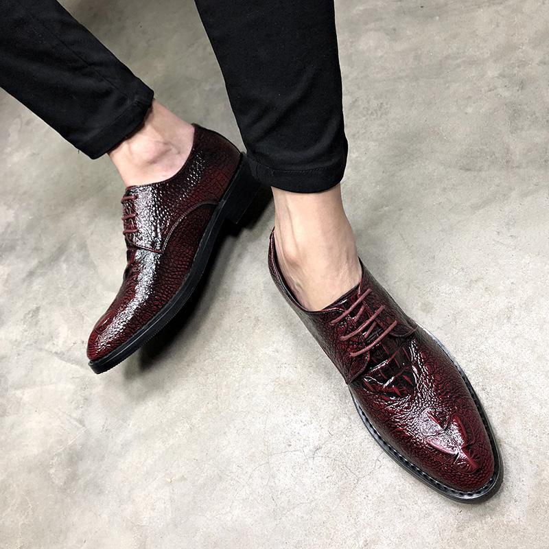 鱷魚紋英倫男士尖頭商務皮鞋酒紅色新郎婚鞋韓版髮型師內增高鞋子