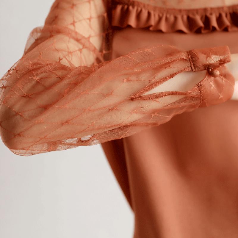 沫晗依美木耳边雪纺衬衫女长袖2018秋新款时尚网纱拼接衬衣上衣