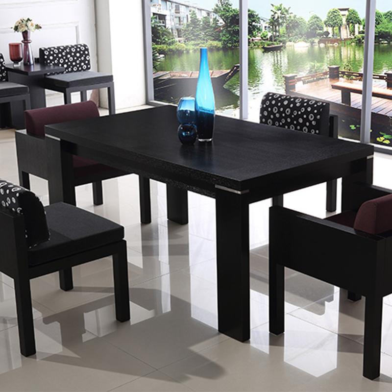 帝阁丽庭 餐桌椅组合6人现代简约黑色餐厅家具长方形餐台4人桌子