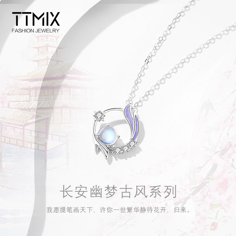 原创长安幽梦项链女夏小众设计感高级纯银古风简约气质爆款锁骨链