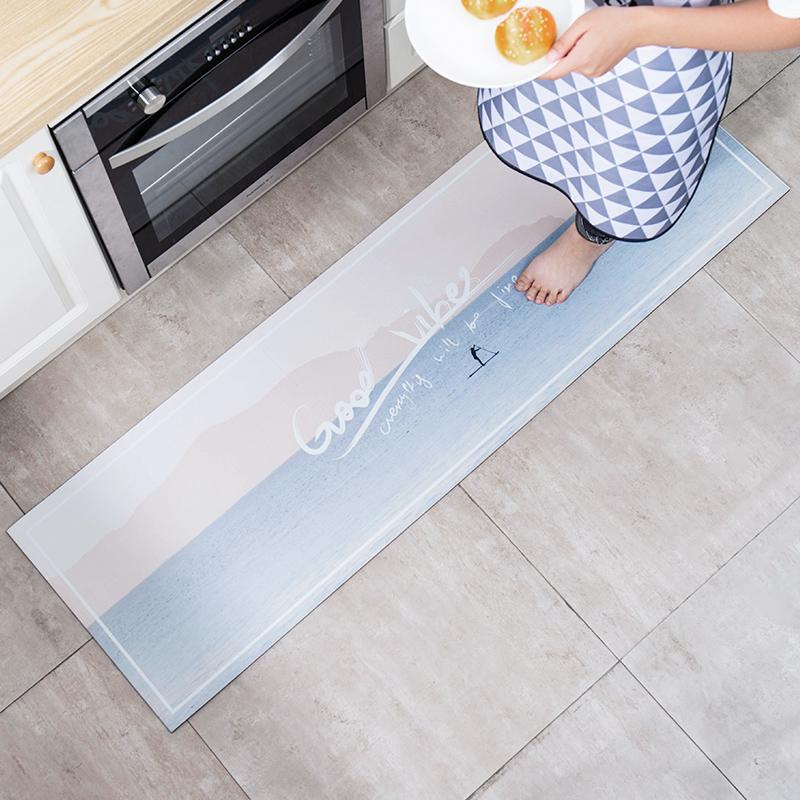 廚房PU地墊防水防油家用長方形防滑墊北歐長條皮革腳墊可手洗套裝