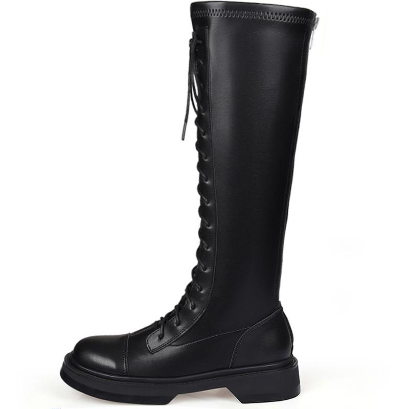 真皮中长筒靴女 秋冬新款靴子小个子长靴内增高骑士靴弹力系带  2020