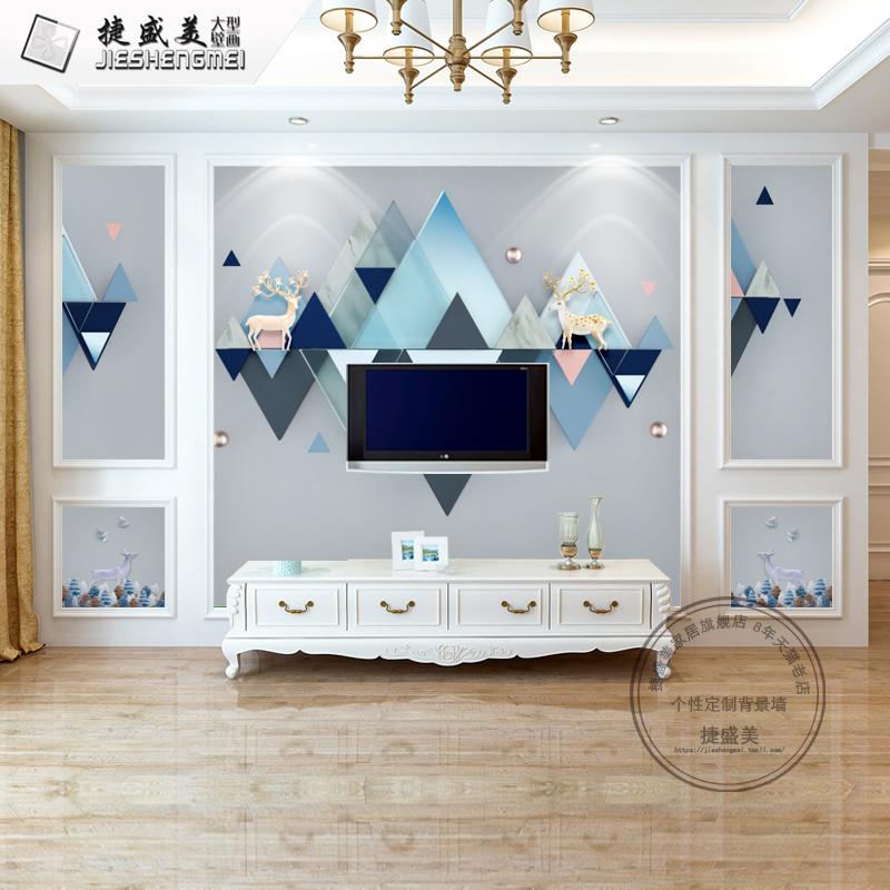 现代简约8d电视背景墙壁纸客厅3d立体影视墙纸卧室无缝5d装饰壁画