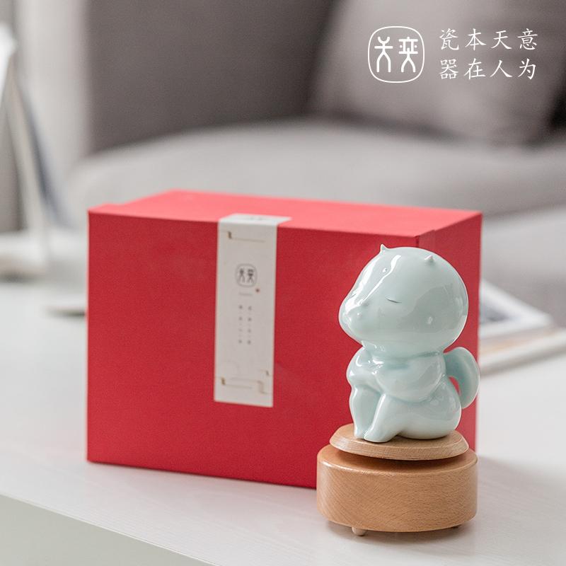 天奕陶瓷音乐盒木质八音盒女生天空之城生日元旦新年礼物 天使