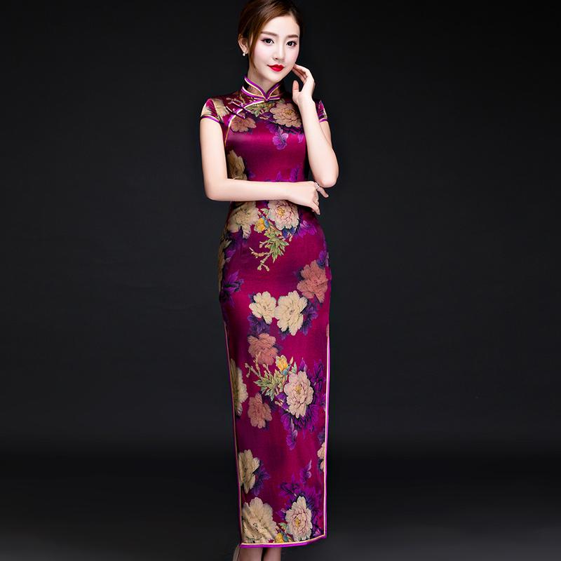 桑蚕丝旗袍裙2019新款 长款真短袖新娘妈妈装优雅中式改良礼服