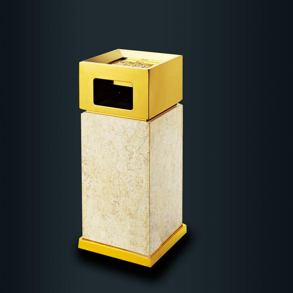 侧投酒店仿大理石纹垃圾桶宾馆带烟灰缸钛金立式桶室内大堂垃圾桶