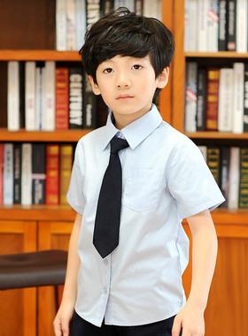 夏装英伦幼儿园园服中小学生校服班服儿童装衬衫男童白色短袖衬衣