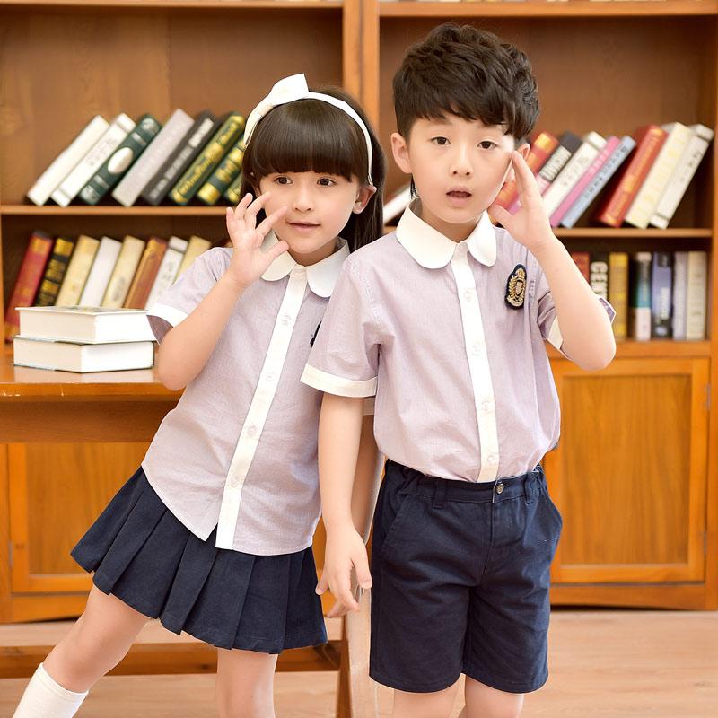 幼儿园园服儿童短袖套装校服衬衣短裤短裙男女童两件套小学生班服