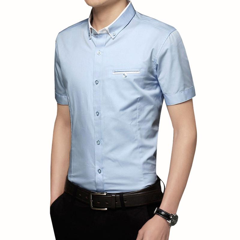 衬衫男士短袖修身商务休闲正装上班青年2017夏季韩版薄款职业衬衣