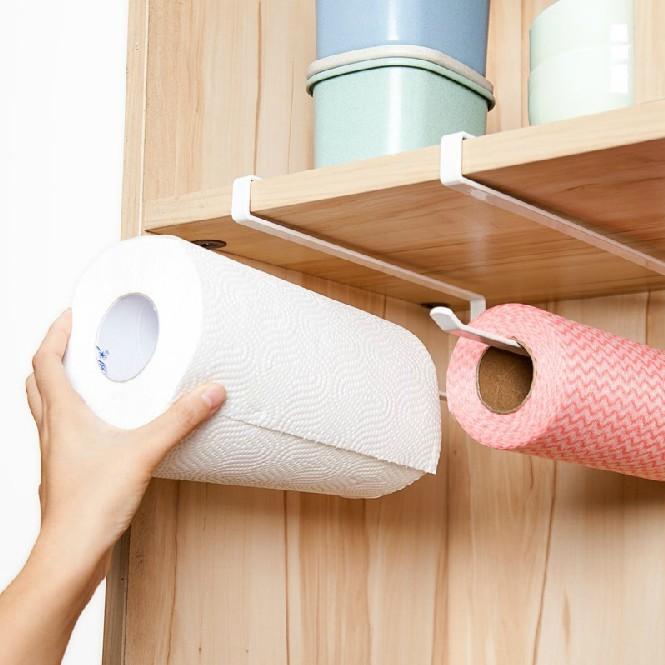 日式櫥櫃免打孔捲紙架紙巾架廚房用紙餐巾紙架子掛架保鮮膜收納架