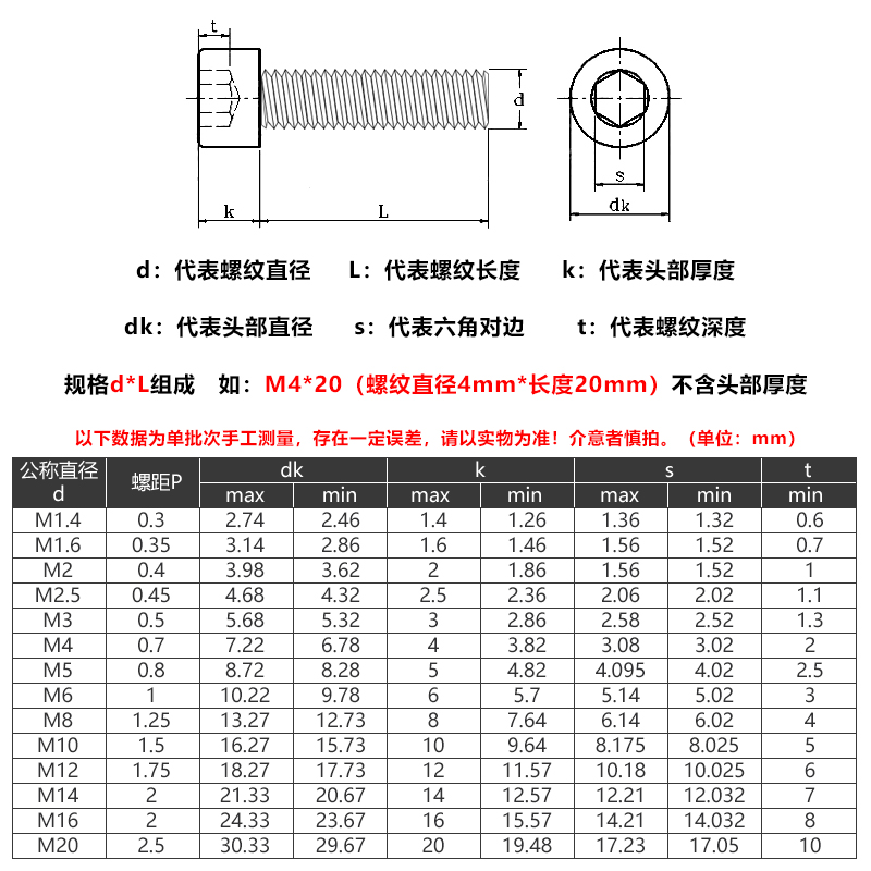 【M3 M4 M5】304不锈钢内六角螺丝钉杯头螺钉螺丝螺栓紧固件加长