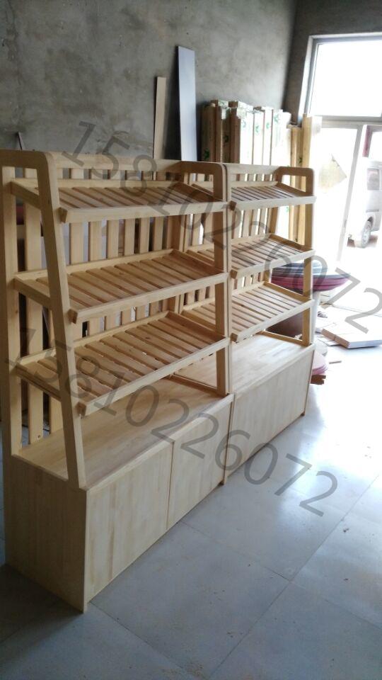 实木面包架子超市商场便利店蛋糕糕点货架中岛柜木质层板展示柜